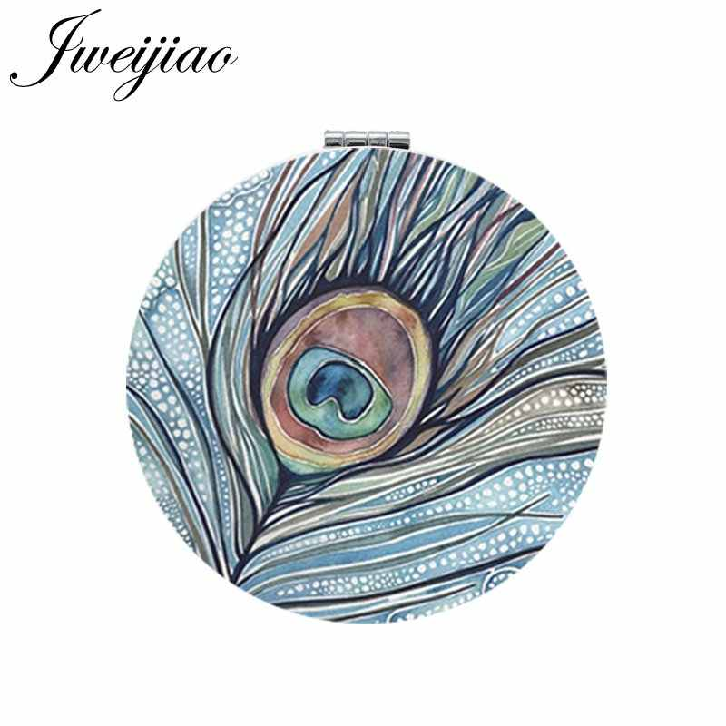 JWEIJIAO Peacock feather Art Picture Round Makeup Mirror PU Leather Mini Folding Compact Portable 1X/2X Magnifying Pocket Mirror