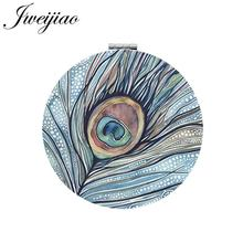 JWEIJIAO Peacock feather Art Picture Round Makeup Mirror PU Leather Mini Folding Compact Portable 1X/2X Magnifying Pocket Mirror(China)