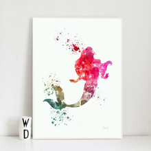 Little Mermaid Princess Ariel Minimalist Watercolor Art Canvas Poster Painting Oil Wall Picture Print Home Bedroom Decor Artwork