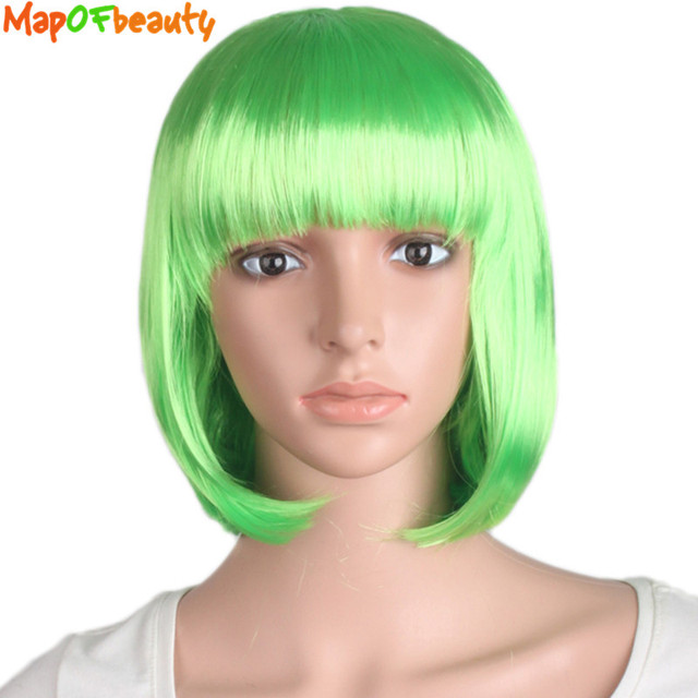 MapofBeauty Short Straight Bob Wig Highlight Green Wigs For Women Synthetic Hair Bangs Heat Resistant Costume Cosplay False Hair