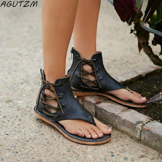 2984e1c737e AGUTZM 2018 verano mujeres gladiador Vintage Sandalias con cordones  chancletas Correa zapatos de tacón plano cuero