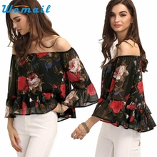 CharmDemon New Arrival Sexy Women Off Shoulder Floral Chiffon Blouse Shirt Tops Summer at19
