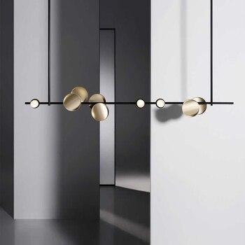 Современная Подвесная лампа, светодиодная столовая кровать, спальня, фойе, круглый стеклянный шар, черный золотой, скандинавский простой со...