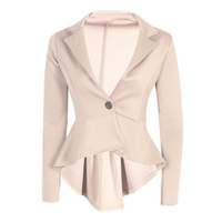 Women S One Button Casual Business Suit Coat BEIGE S US 2 4