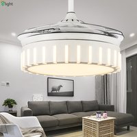 Modern Invisible Acrylic Led Ceiling Fans Dining Room White Metal Led Ceiling Fan Bedroom Dimmable Ceiling Fan Lights Fixtures