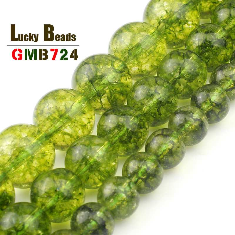 Round Green Peridot Crystal Stone Beads Natural Loose Spacer Beads For Jewelry Making DIY Bracelet Necklace 15inches 6/8/10mm