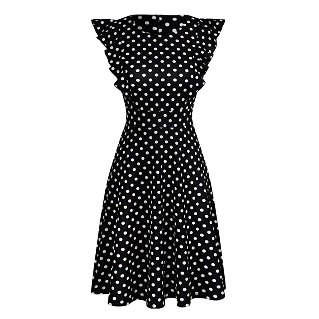 Sleeper #401 19 NEW FASHION Women Vintage Dot Printed Ruffle Sleeveless Casual Cocktail Party Dresses casual hot Free Shipping 12