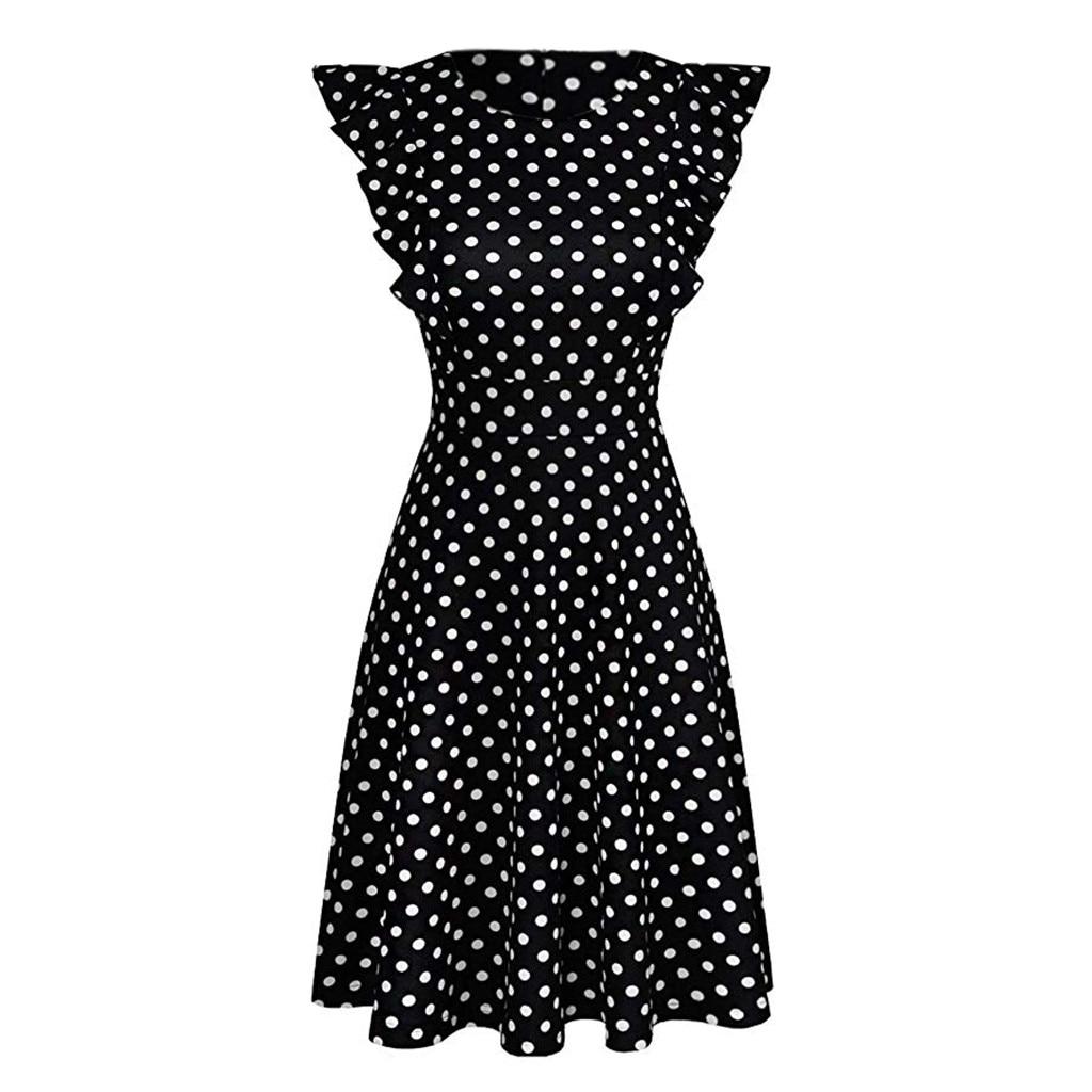 HTB1Zp4ZRhjaK1RjSZFAq6zdLFXaC Sleeper #401 2019 NEW FASHION Women Vintage Dot Printed Ruffle Sleeveless Casual Cocktail Party Dresses casual hot Free Shipping