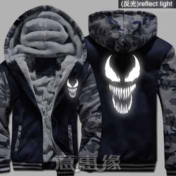 New Film Winter Men Women Spider-Man venom hoodie reflect light Thick Hooded Warm Jacket Coat - DISCOUNT ITEM  25% OFF All Category