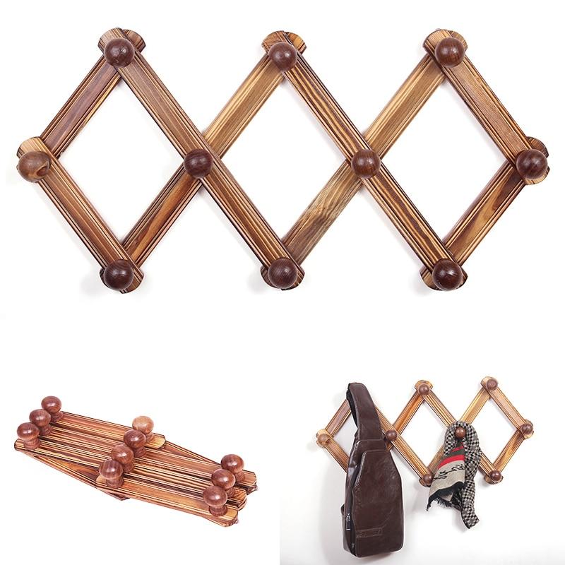 10 Hook Rustic Wood Expandable Accordion Peg Coat Rack Hanger Wall