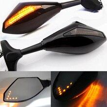 Мотоцикл заднего вида зеркала светодиодный поворотники огни для Hyosung GT125R GT250R GT650R Kawasaki Z750S Ninja 250R 650R