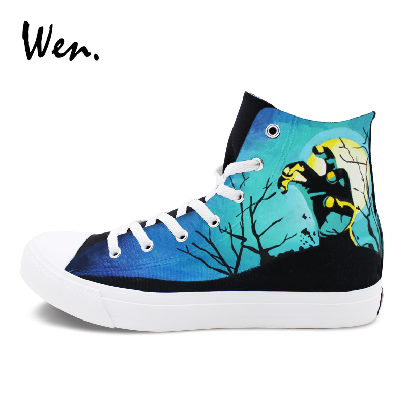 Wen Skateboarding Shoes Design Zombie Walking Dead Hand Painted Canvas Flat Sneakers Women Men High Top Plimsolls Gym Trainers red original converse all star men women shoes zombies walking dead custom design sneakers hand painted shoes man woman