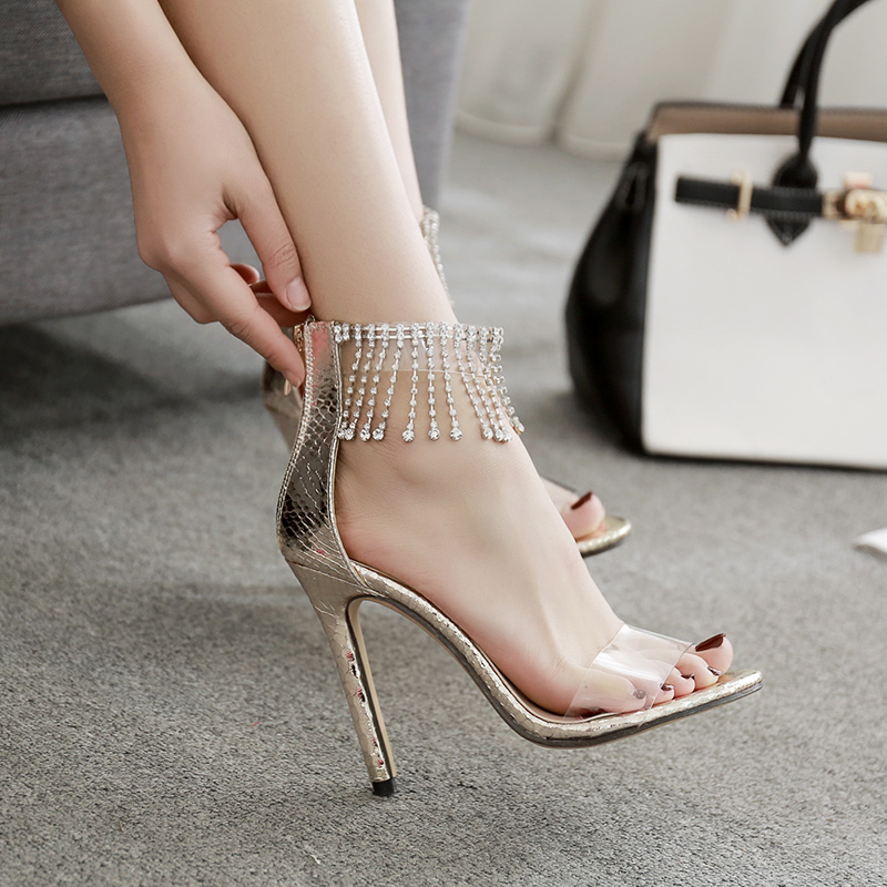 2018 women high heel party sandals luxurious buckle strap Transparent plastic wedding sexy fashion shoes 11 cm Pumps Thin Heel xiaying smile summer woman sandals women pumps buckle strap high thin heel fashion casual sexy bling rivet rubber women shoes