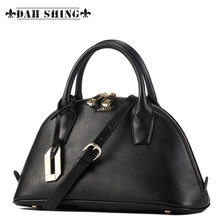 Solid colors Genuine leather women's shell handbag Shell bag women daily Clutches shoulder bag zipper closure Size S