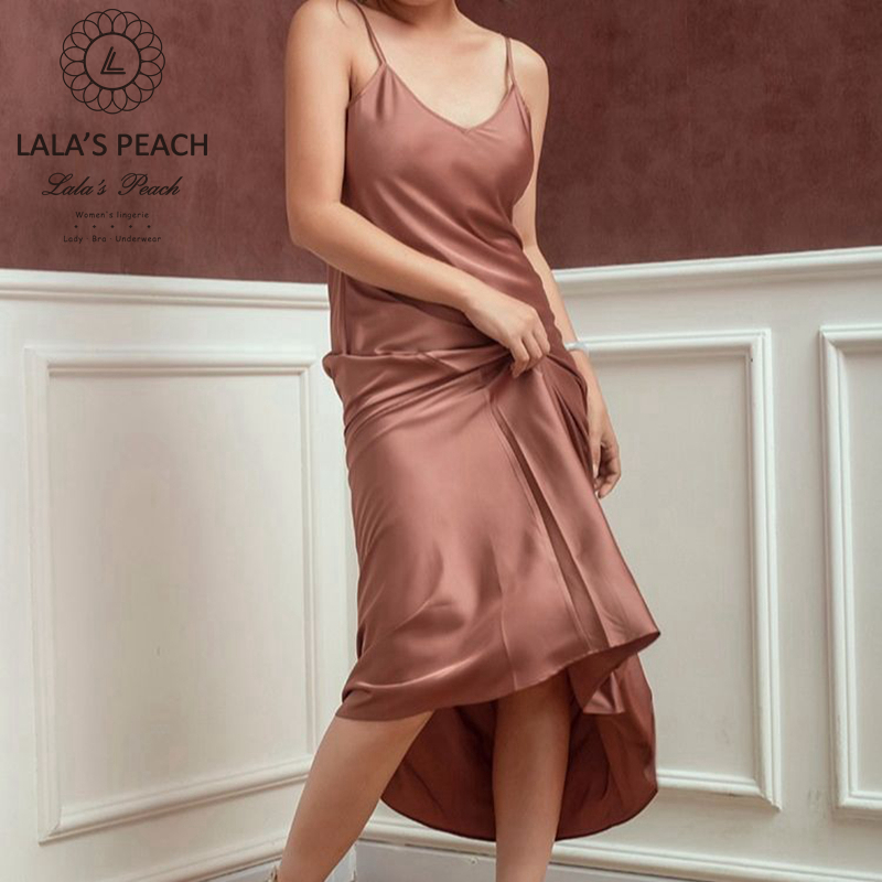 Lalas Peach silk Long nightgown satins women nightdress thin gently Bath Robe female nightwear evening dress sexy lingerie robe