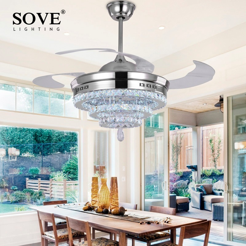 Modern LED Crystal Chandelier Fan Lights Chandelier Fan Crystal Lights Living Room Restaurant Modern Fan With Remote Control remote control fan chandelier home mute living room solid wood fan chandelier lights american antique retro chinese lights fan