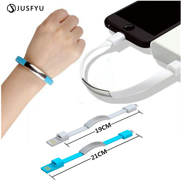 Jusfyu Outdoor Colorful Mini Micro Usb Bracelet Charger Data Charging Cable Sync Cord For Iphone 6s