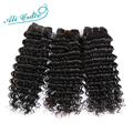 Ali Grace Hair 3Bundles 8A Brazilian Virgin Hair Deep Wave Curly Human Hair Weave Natural Black Brazilian Virgin Hair Deep Wave