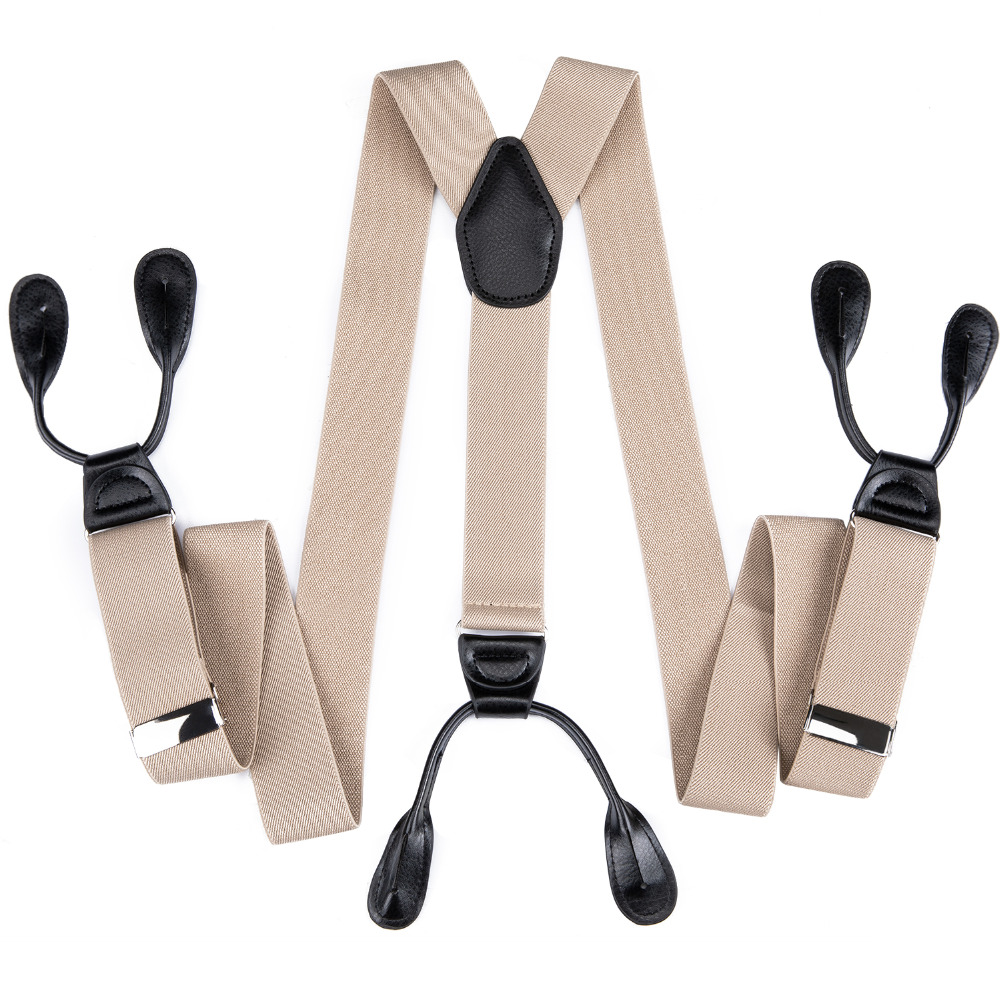 DiBanGu 2018 High Elasticity Gentleman's Suspender Luxury Brace Strap Real Leather Cross 6 Buttons Gift For Adult Fashion JZ-507