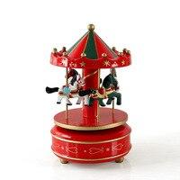Vintage De Madeira Caixa de Música Do Carrossel Carrossel Crianças dos miúdos Meninas Natal Brinquedo de Presente de Aniversário Decoração Do Casamento U0919