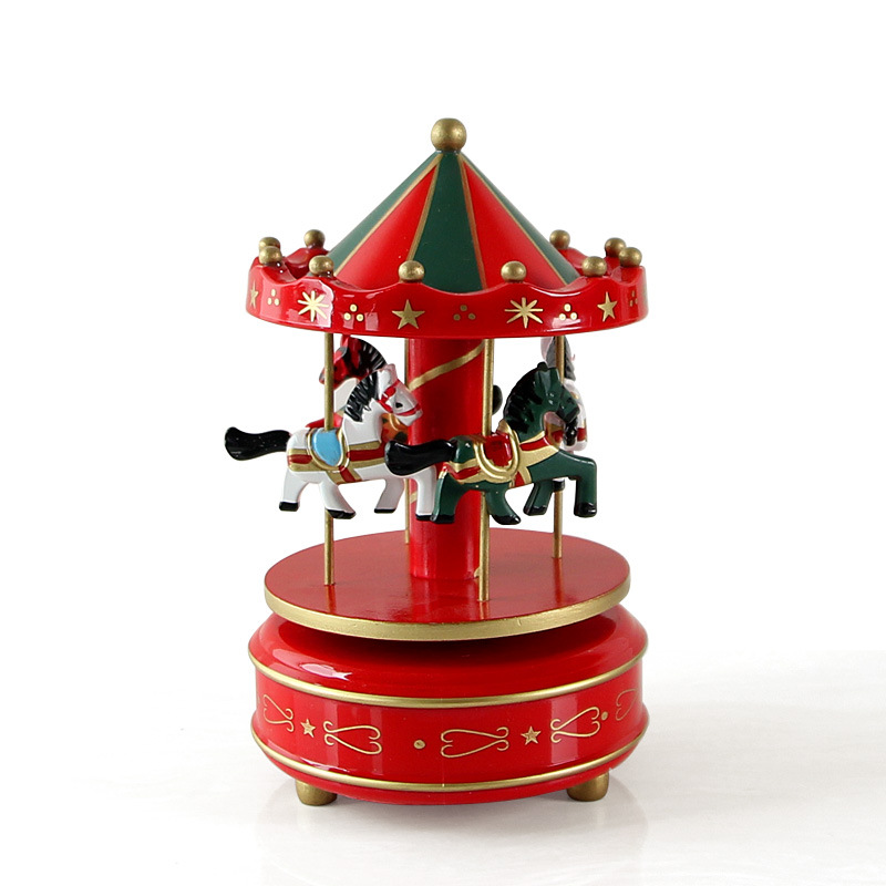 Vintage Wooden Merry Go Round Carousel Music Box Kids Children Girls Christmas Birthday Gift Toy Wedding