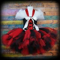 Cosplay Kids Girls Halloween Pirate Tutu Dresses Red Bay Girls Wench Tutu Dress Outfit Photography Halloween
