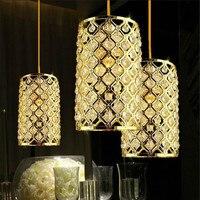 מודרני LED תקרת גביש זהב נברשות תליון מנורה לחדר אוכל גופי תאורת מסדרון Lamparas Colgantes Comedor E27