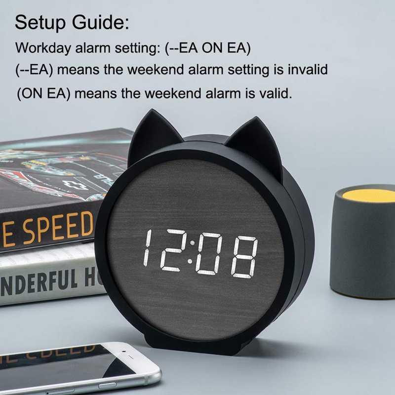 Digitale Wekker, Alarm Instellingen Houten Elektronische Led Display Snooze Tijd Temperatuur Usb Opladen Met Voice Control Voor B
