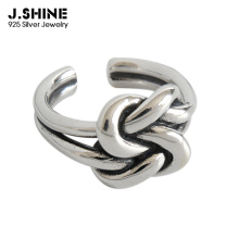 JShine 925 Sterling Silver Retro Rope Tie a Knot Open Rings For Women INS Vintage Punk Index Finger Jewelry Womens Decoration