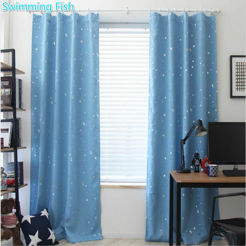 Eco friendly silver stars printed blackout cloth curtain - Long or short curtains in living room ...