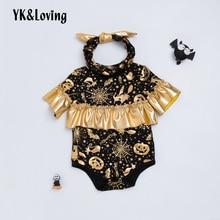 hot deal buy yk&loving new baby rompers halloween black golden pumpkin spider web printed cotton cute halloween rompers baby suit clothing