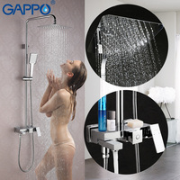 GAPPO Bathroom Shower Faucet Rainfall Thermostatic Mixer Shower Faucet Panel Triple S Valve Massage Bathtub Shower
