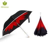 Dobrável Reversa Camada Dupla Guarda-chuva Punho Invertido LED Luz de Advertência Do Carro Chuva À Prova de Vento Auto Open Proteção UV Umbrellas