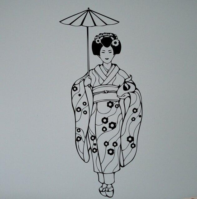 Aliexpresscom  Buy Geisha With Umbrella Wall Decal Vinyl Sticker - Vinyl wall decals asian