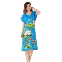 Brand New Blue Lady's Cotton Nightgown Chinese Style Print Robe Bath Gown Flower Sleepwear Nightdress One Size T051