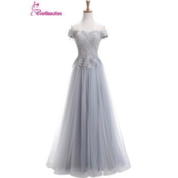 Robe De Soiree  Evening Dresses Long Light Grey Tulle Appliqued Off The Shoulder Abendkleider 2020 Evening Party Gowns Kaftan