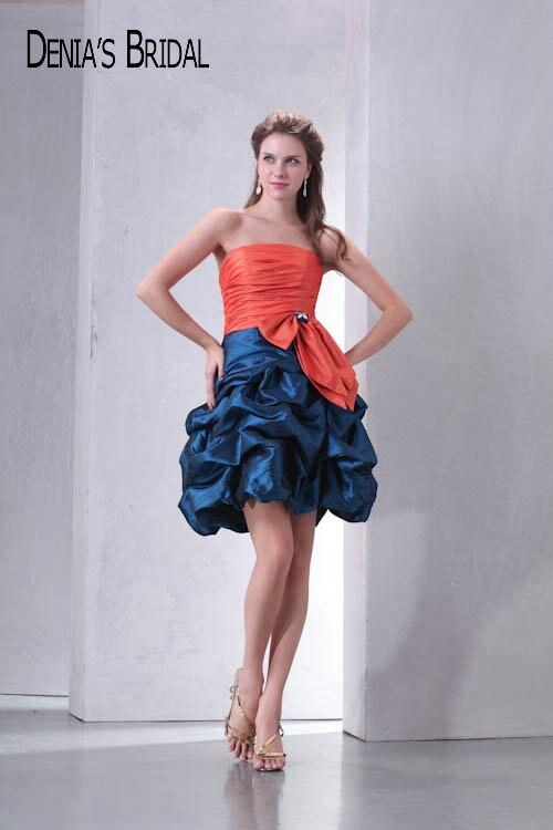 baca882308a5 Foto reali di Colore di Contrasto Senza Spalline Mini Taffettà Prom Dresses  Bordato Pieghe Ruffles A