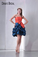 Real Photos Contrast Color Strapless Mini Taffeta Prom Dresses Beaded Pleats Ruffles A Line Short Party Gowns