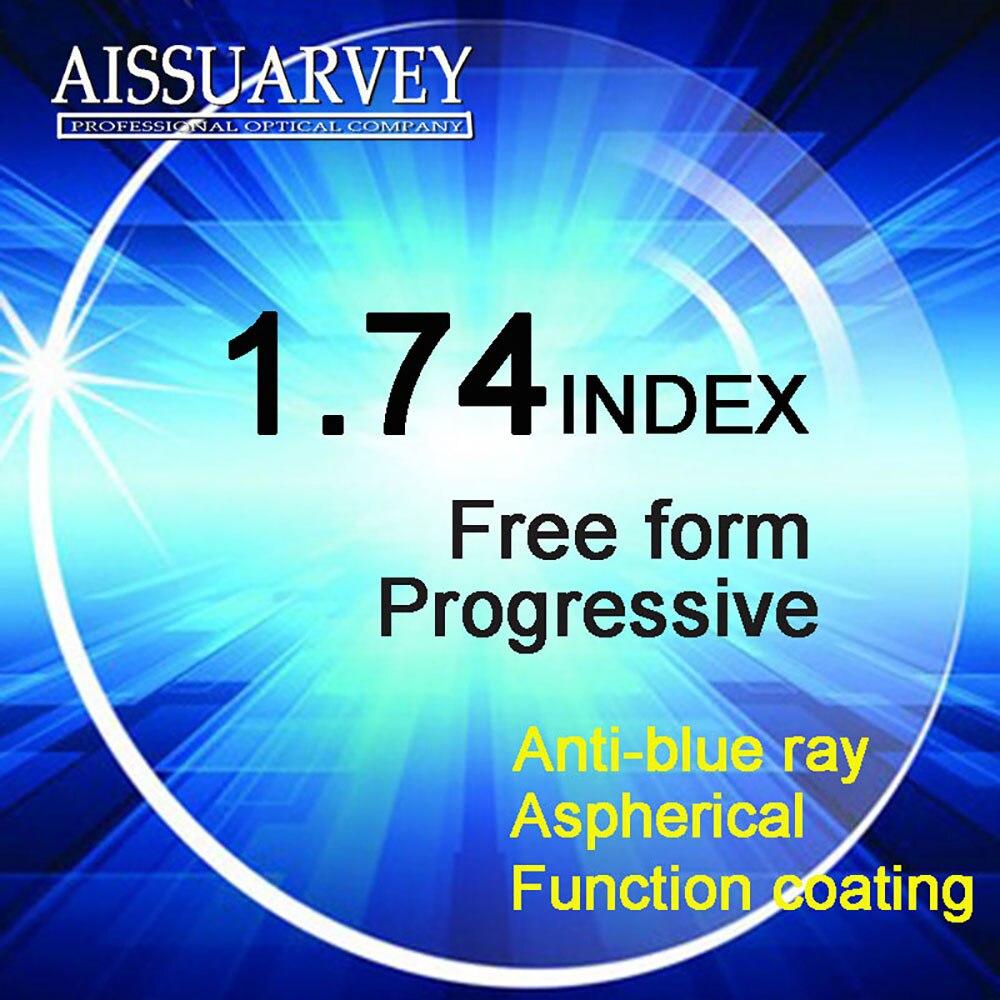 1.74 lentilles progressives de forme libre d'index revêtement vert asphérique Multifocal de rayon bleu lentille claire mince bifocale transparente