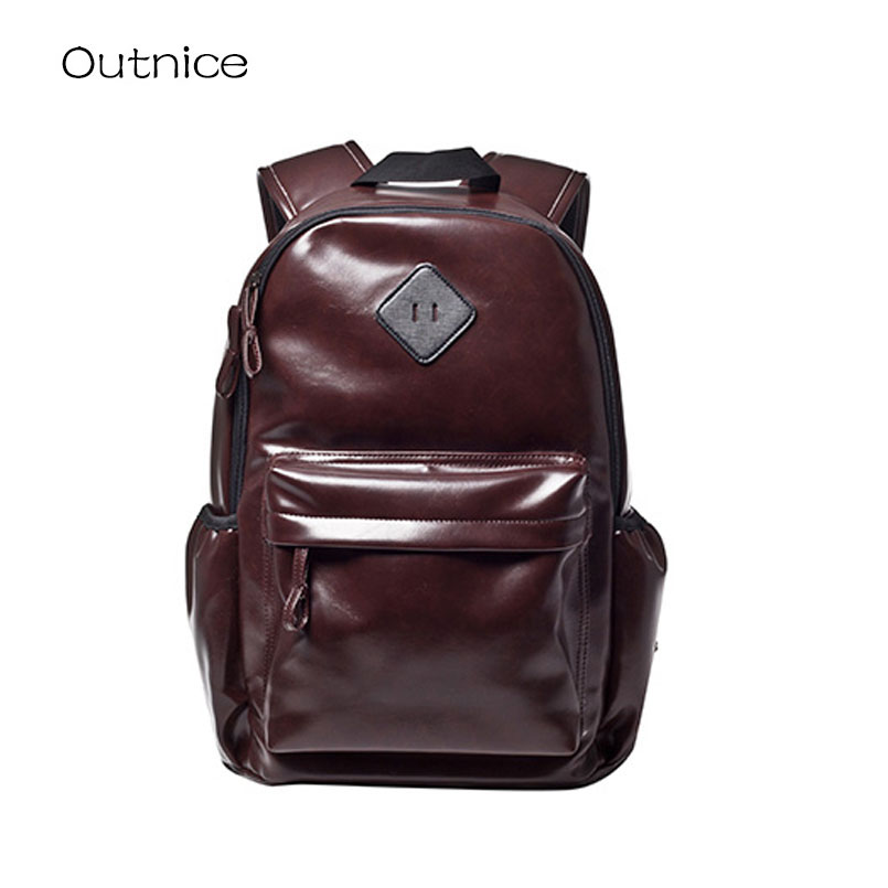 ФОТО Unisex Feminine Backpack Youth Vintage PU Leather School Bag Travel Rucksack for Teenagers sac a dos