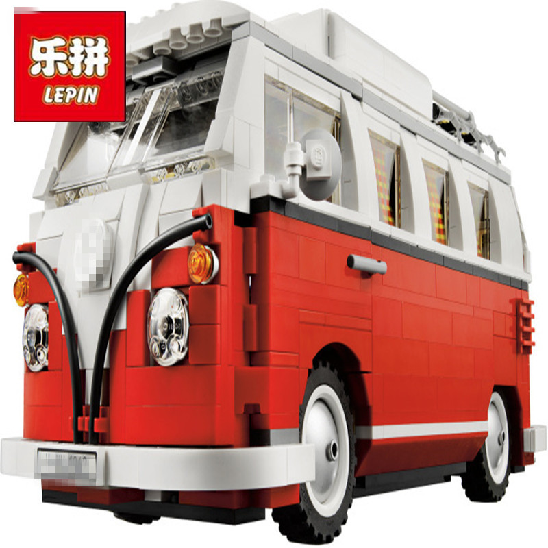 LEPIN 21001 1354Pcs Technic Series Volkswagen T1 Camper Van Model Building Blocks Kits Bricks Toys Compatible 10220 Model Gifts free shipping lepin 21002 technic series mini cooper model building kits blocks bricks toys compatible with10242