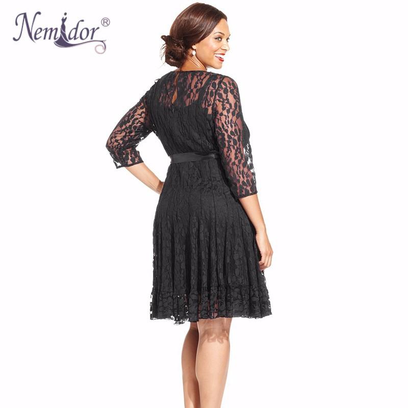 Nemidor Plus Size Lace Dress (4)