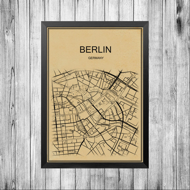 City Map Art of Berlin UK vintage Poster Wall Picture wall sticker ...