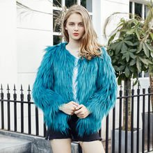 6c3e90482ac Women Fashion Faux Fur Coat Shaggy Furry Jacket Hairy Collarless Overcoat Plus  Size 3XL Black Warm Winter Outerwear Coat