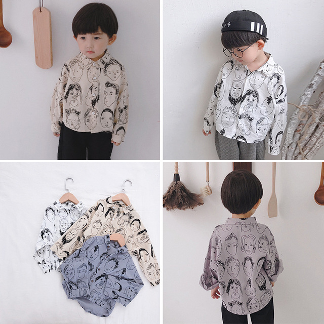 d033105ba Japanese style Autumn little boys fashion cartoon portrait printed long  sleeve shirts 1-6 years