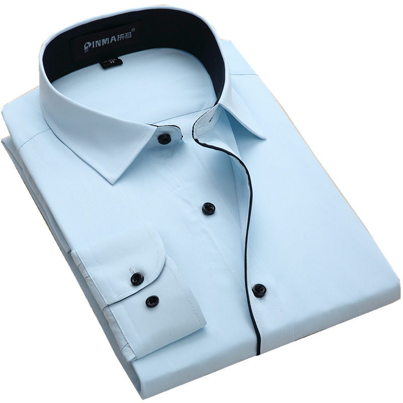 Men s Placket Inner Contrast Dress Shirt Slim Fit Business Long sleeved Twill Shirt For Work