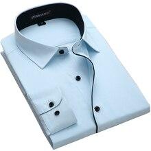 Мужская разрез внутренний контраст рубашка Slim Fit бизнес с длинными рукавами саржевая рубашка для работы офиса одежда Camisa социальной Masculina