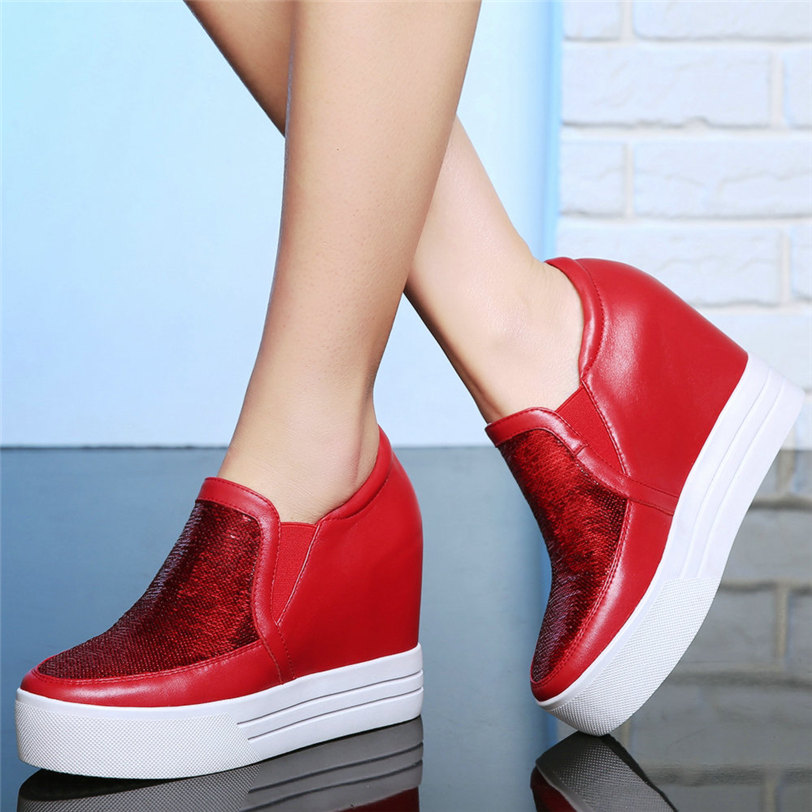 Trainers Women Cow Leather Wedges High Heel Evening Party Pumps Shiny Glitter Platform Creepers Casual Shoes Slip On New Oxfords in Women 39 s Pumps from Shoes
