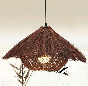 Bamboo hat pendant light Chinese garden rattan creative dining room balcony restaurant lighting lamps weaving farm lighting ZAG loft garden pendant lamps  bamboo