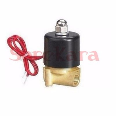 24V AC 2W-025-06 2 Way 2W Series Brass Air Gas Water Solenoid Valve 1/8 BSP Normally Close Wire Lead Type brass connector 2 way welding machine rotatable solenoid valve ac 24v